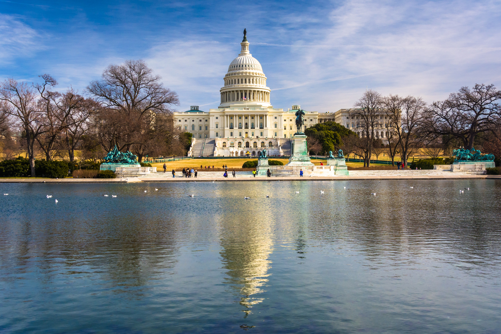 The United States Capitol and reflecting pool in Washington, DC.