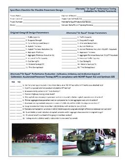 Specifiers Checklist for Pavement design