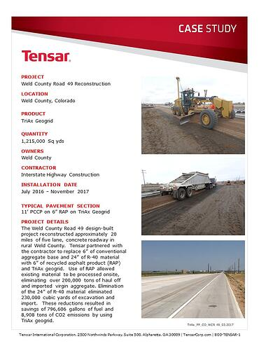 TriAx Geogrid pavement project weld county